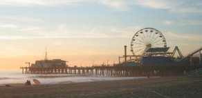 Image, beach, ferris wheel, pier, Santa Monica, California, summer, fun